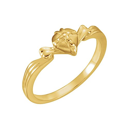Gift Wrapped Heart Chastity Ring - Security Jewelers 14k Yellow Gold The Gift Wrapped HeartRing Size 8, 14kt Yellow Gold, Ring Size 8