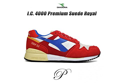 Diadora, Uomo, I.C. 4000 Premium, Pelle / Suede, Sneakers, Rosso Pompeian Red/Nautical Blue