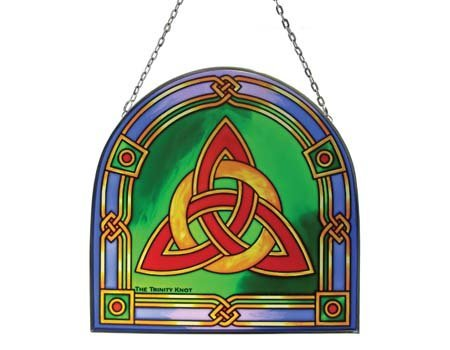 Irish Celtic Trinity Knot Stained Glass Panel by Royal Tara