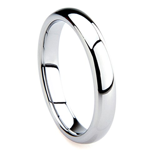 Tungsten Metal 4MM Plain Dome Wedding Band Ring Sz (Artcarved Wedding Bands Tungsten Ring)