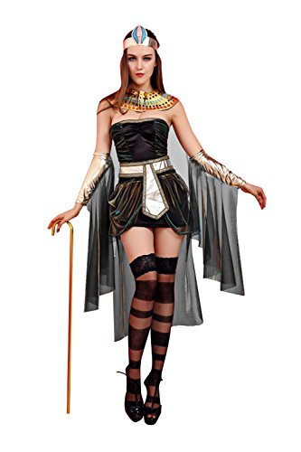 Sunnorn Queen Cleopatra Priest Halloween Cosplay Stage Costume Dress (Plus Size Greek Goddess Costume)