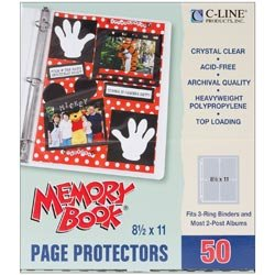 C-Line Bulk Buy Memory Book Top Loading Page Protectors 8.5 inch x 11 inch 3 Ring and Postbound Use Clear 50 Pack 62077 (2-Pack)