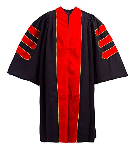 GraduationForYou Doctoral Gown with Red Velvet Gold Piping by GraduationForYou