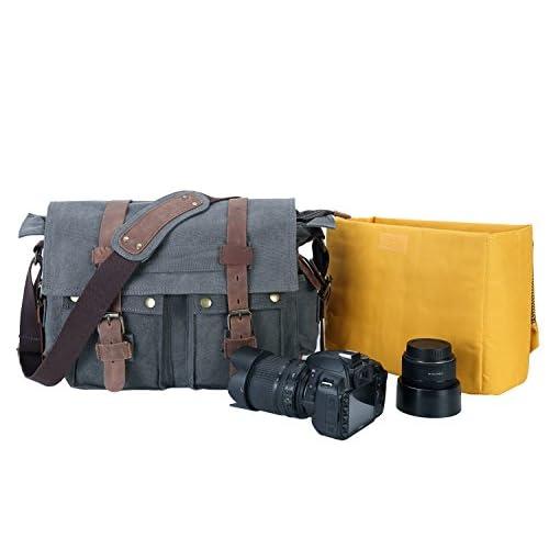 b99399ac77bb well-wreapped Peacechaos Men s Canvas Leather DSLR SLR Vintage Camera  Messenger Bag