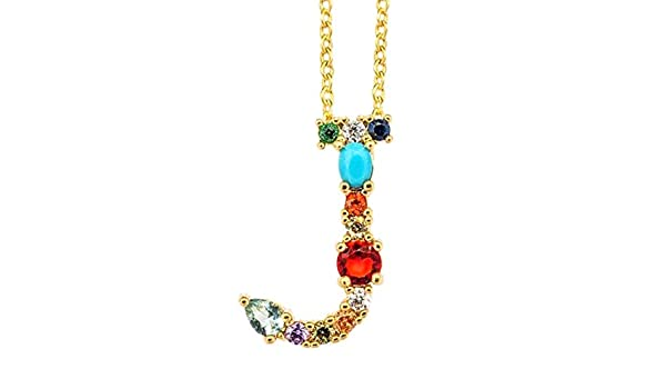 smallwoodi Exquisite Stylish Pendant,Women Cubic Zirconia Inlaid 26 English Letters Pendant Chain Necklace Jewelry for Women Jewelry
