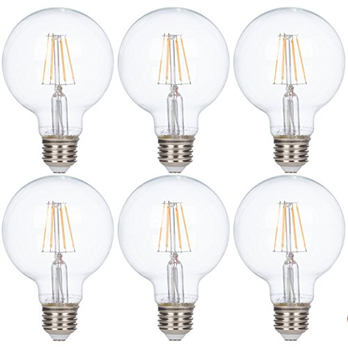 [6 Pack] Simba Lighting LED Vintage Edison Globe Filament G25 (G80) 4W Dimmable 420lm 40W Equivalent Antique Decorative 120V for Vanity Makeup, Standard Medium E26 Base, UL Certified, Warm White 2700K