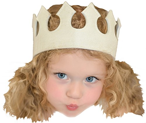Crown Fabric Glitter Stretch Halloween Costume Birthday Princess Party White Dress Up
