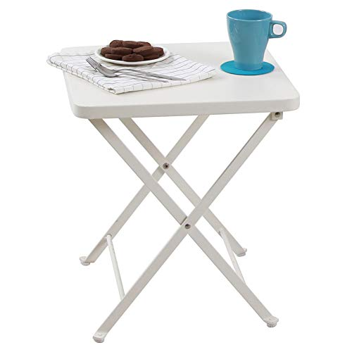 PHI VILLA Folding Metal Side Table Portable Outdoor Patio Small Folding Bistro Table, White by PHI VILLA