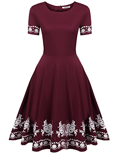 HOTOUCH Women's Vintage Flower Print Puffy Swing Casual Party Dress OX165(Wine Red, M)