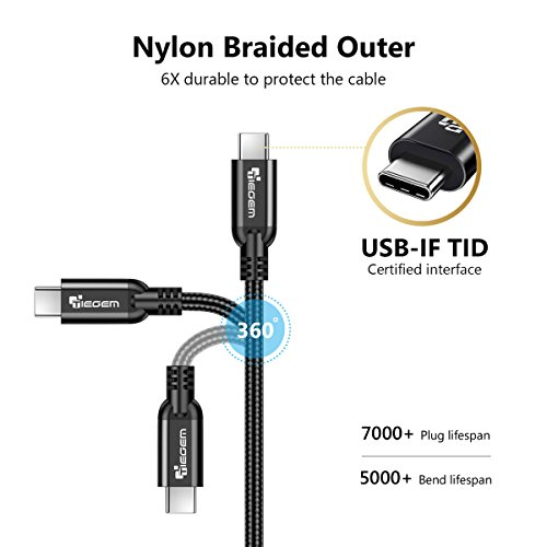 TIEGEM USB Type C 3.1 Gen 2 Cable (100W/10Gbps) USB C to USB-C Cable USB-IF TID Interface Type-C PD Cable E-Marker Power Delivery Wire for MacBook Pro Galaxy S9 S9 Plus OnePlus 6 (Black, 6.6ft)