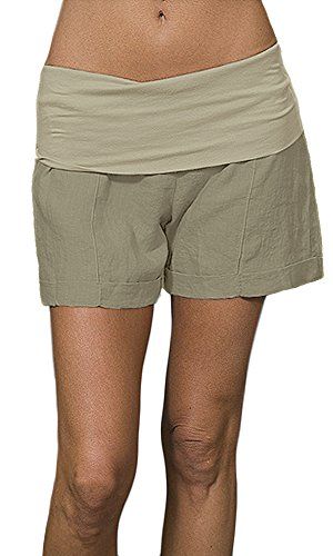 Fresh Laundry Linen Fold Over Shorts (S, - Fresh Laundry
