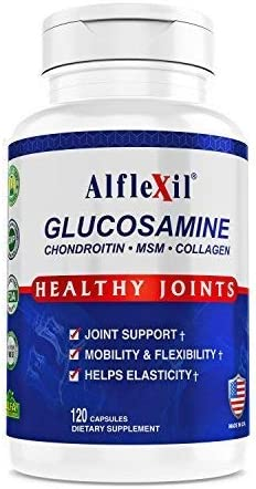 Alflexil Premium Glucosamine & Chondroitin Nutritional Supplement - Healthy Joint, Bone & Knee Support - Rich In MSM & Collagen - Organic natural Ingredients - Made In USA - 120 Capsules