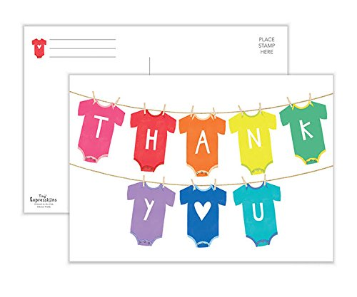 Tiny Expressions Baby Shower Thank You Postcards, New Baby Thank You Postcards, Baby Thank You Cards (50 Postcard Pack) by Tiny Expressions