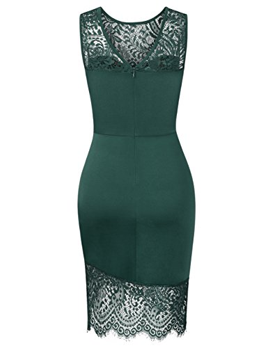 Women's Lace Slim Dress Green Elegant Ruched Cocktail Party Floral Dark Sleeveless Bodycon Fitted HiQueen Pencil BdqagqT