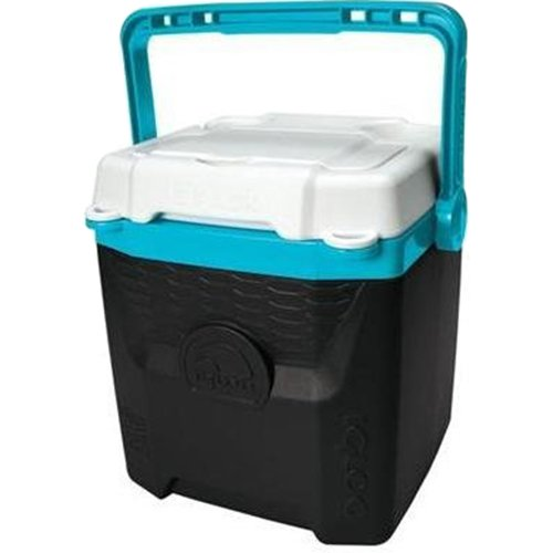 18 Can Cooler (Igloo Quantum 12 quart, Black / Tantalizing Turquoise / White, 12 Qt. / 11 Large / 18 Cans)