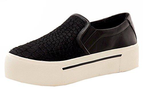 Donna Karan DKNY Women's Bess Platform Black Croc Sneakers Shoes Sz: 7.5