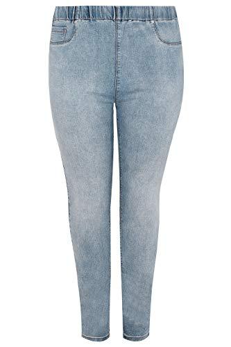 Yours Clothing Women's Plus Size Light Mid Wash Jenny Jeggings Blue