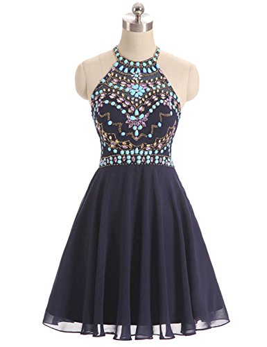 Halter Dress Prom Short Beaded Women's Homecoming Backless DYS Dresses Emerald Party 5FtnwqSx