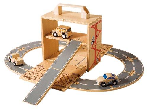 (Diggin Box Set Cars. Wooden Toy Garage Play-Set. 3 Vehicles, Road Track & Wood Ramp)