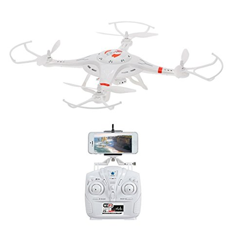 Drone with Super Wide Angle HD Action Camera with 360 Degree Visibility | Wi-Fi Sync Smartphone Controlled Real-Time Video on Propellered Mount | White CX-32W by TechTroo