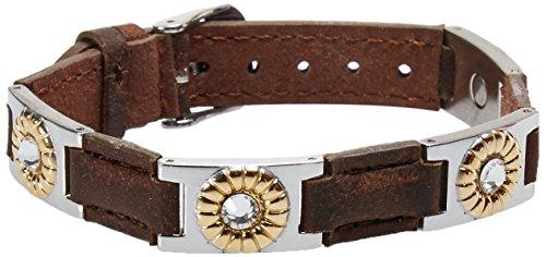 Sabona Brown Leather Gem Duet Magnetic Bracelet