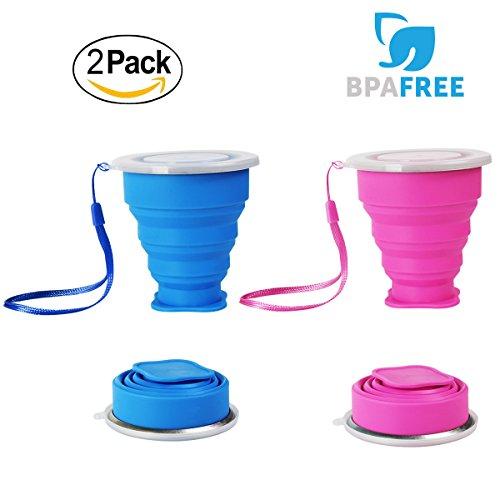 WEINAS Lot 2 Tasse de Voyage Camping Pliable Pliant en Silicone Mini-Cups Folding Coupe Randonnée Mugs Portable en silicone
