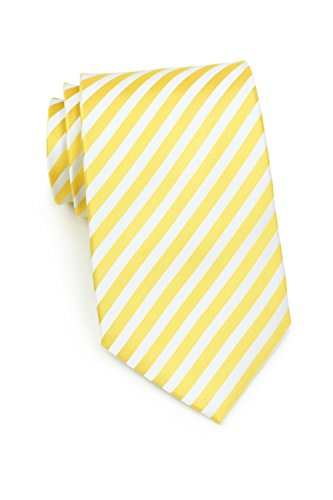 Bows-N-Ties Men's Necktie Luxe Stripes Silk Satin Tie 3.25 Inches (Lemon Yellow and ()