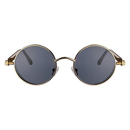 ZHILE Vintage Hippie Retro Metal Perfect Round Circle Small Frame Sunglasses with Polarized Lens 47mm (Gold, Gray)
