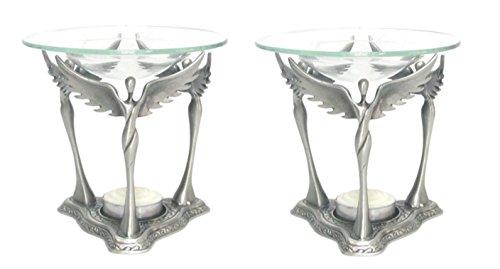CLEARANCE SALE 2 Pack Best Silver Glass Angel Set Wedding Ta