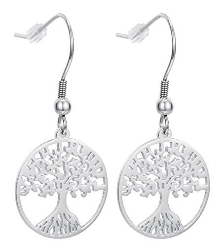 Tree of Life Dangle Earrings With Fishhook Backings, Stainless Steel - By Regetta Jewelry