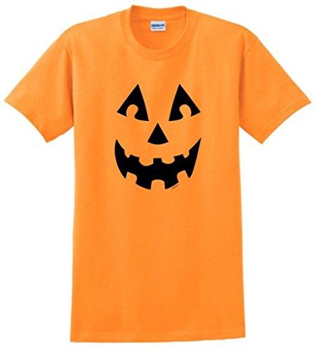 College Women Halloween - Jack O'Lantern Pumpkin Face Halloween T-Shirt Small Tangerine