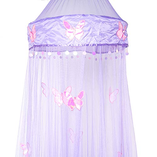 OctoRose Butterfly Bed Canopy Mosquito NET Crib Twin Full Queen King (Purple) (Purple Butterfly Queen Bedding)