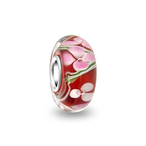 Glass Cherry Timeless - Cherry Blossom Floral Red White Murano Glass 925 Sterling Silver Core Spacer Bead Fits European Charm Bracelet For Women