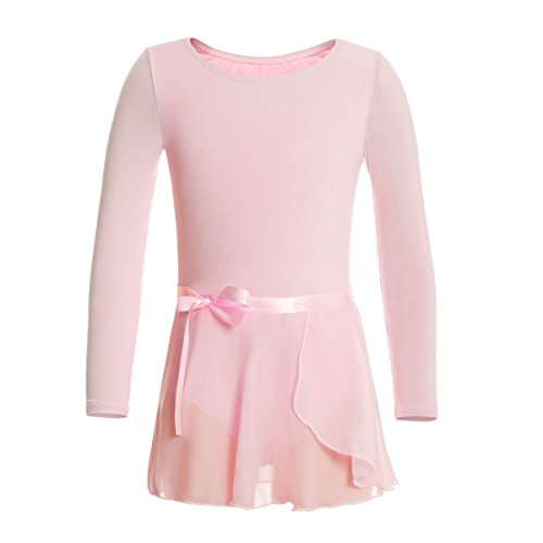 MAGIC TOWN Leotard Long Sleeve Wrap-Round Skirt Girls Dance Gymnastics Cotton Dress(4-6,Pink)