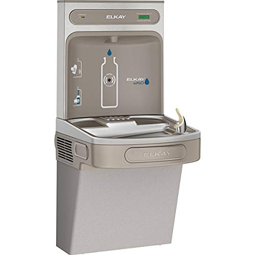 - Elkay LZS8WSLK Wall Mount Drinking Fountain with Bottle Filler Station, Light Gray Granite