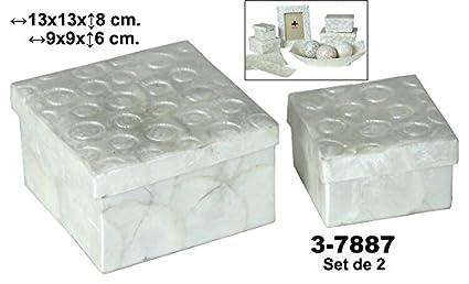 DonRegaloWeb - Set de 2 cajas de nácar cuadradas decoradas con círculos en color nácar