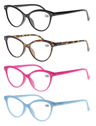 Women Reading Glasses 4 Pack Fashion Colors Cat Eye Readers for Ladies Compact Spring Hinge Lightweight Frame Includes Pocket