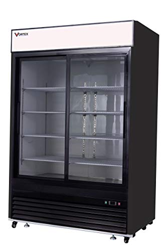 (Commercial Grade Merchandiser Refrigerator by Vortex Refrigeration | 2 Sliding Doors | Fog Resistant Glass | 49 Cu. Ft. | 8 Adjustable Shelves | for Restaurants | 54.4