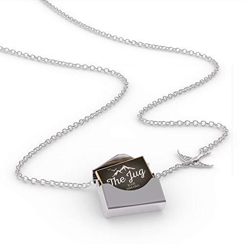 (NEONBLOND Locket Necklace Mountains Chalkboard The Jug Rock - Indiana in a Silver Envelope)