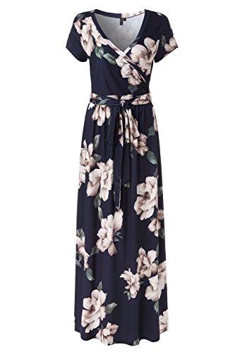 Kranda Womens Vintage Floral Print Short Sleeve Maxi Long Dress (Navy Multi, Small)
