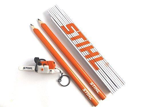 Crayon de charpentier Lot de 2?Cl? 1?m?tre pliant 1?Scie an?nger???avec bruit Stihl