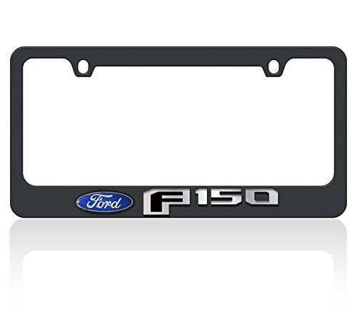 Eurosport Daytona- Compatible with -, 2015 Ford F-150 Logo (Domed Ford Oval, Mirror Word, Black F) - Black License Plate Frame - Oval License Plate