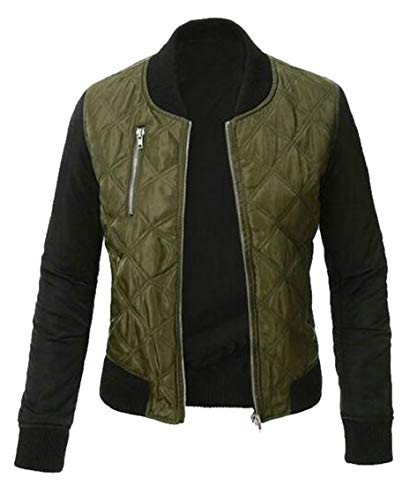 Women's Padded Bomber Gocgt Jacket Quilted Lightweight Up Zip Green Jacket OZfwa