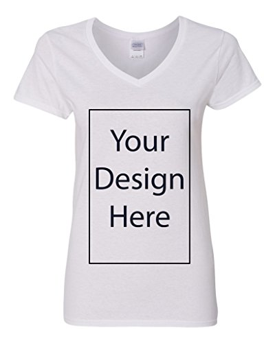 V-Neck Ladies Add Your Own Text Design Custom Personalized T-Shirt Tee (Small, White)