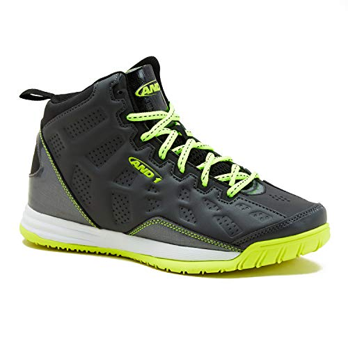 AND1 Kids Show Out Basketball Shoe, 1 M US Little Kid Grey/Black/Lime