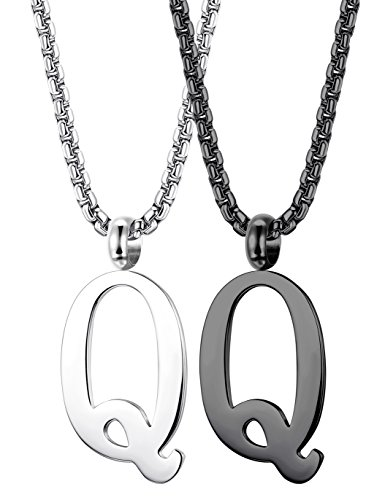 - Thunaraz 2PCS Stainless Steel Initial Letter Necklace Minimalist Alphabet Name Jewelry for Men Women Personalized Charm Pendant Necklace Q