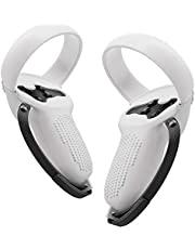 Oculus Quest 2 Controller Cover Grips with Straps, Silicone Halo Protector Accessories, Controller Bumper Protector,Ring Cover with Knuckle Straps,Anti-slip,Anti-throw,2 Rocker Caps for Free(White)