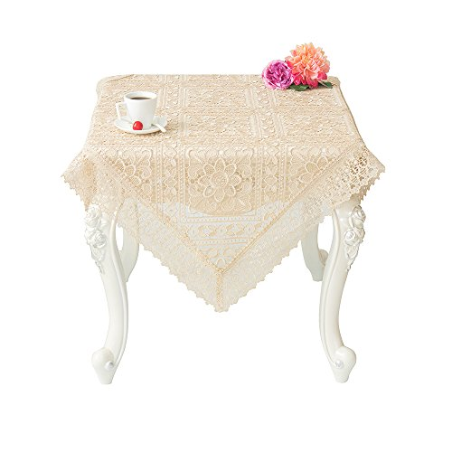 Just-Enjoy Lace Evelyn Durable Polyester Creative Hollow Out Light Coffee Colour 36x36 Inches Square Embroidered Table Cloth (36' Lace Runner)