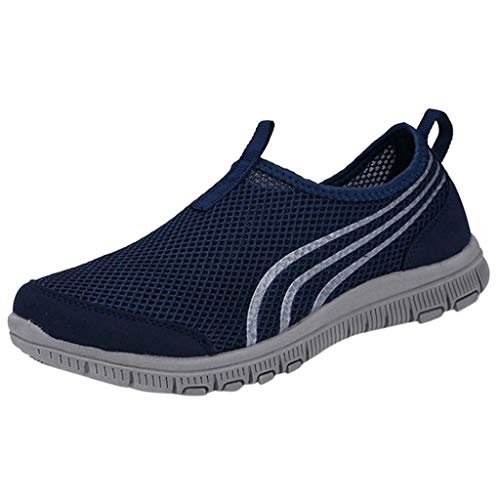 Mysky Fashion Men Summer Simple Breathable Soft Flat Mesh Shoes Men Classic Pure Color Slip-On Sports Running Shoes Dark Blue