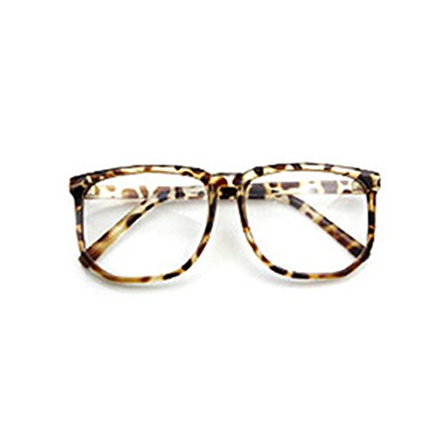 Plain Lens (Shuohu Unisex Oversized Retro Tortoise Shell Nerd Geek Clear Lens Plain Glasses)
